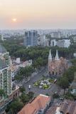 Notre Damae katedra, Ho Chi Minh miasto w zmierzchu Obrazy Stock