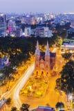 Notre Damae katedra w nocy Zdjęcie Royalty Free