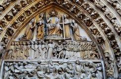 Notre Damae Katedralny Paryski Środkowy Wrotny Ostatni osądzenie Obrazy Stock
