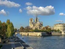 Notre Damae, Paryż, Francja, od wonton rzeki mosta obrazy stock