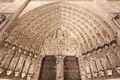 Notre Damae, Paryski katedralny portal Fotografia Royalty Free