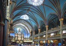 Notre Dame内部在蒙特利尔 库存照片