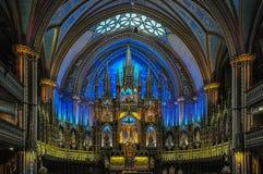 Notre Dame大教堂惊人的内部在蒙特利尔,加拿大 库存照片