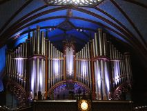 Notre Dame大教堂蒙特利尔器官管 图库摄影