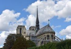 Notre Dame尖顶、La弗莱切和在火前的木屋顶 r 免版税库存图片
