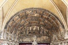 Notre Dame教会的鼓膜在第茂,法国 库存图片
