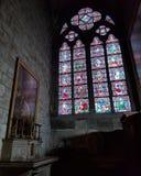 Notre Dame污迹玻璃窗 免版税库存照片