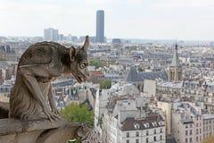 Notre Dame του Παρισιού, διάσημη όλων των χιμαιρών, αγνοώντας τον ουρανό Στοκ Φωτογραφίες