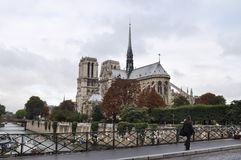 The Notre Dame. View of the Notre Dame from across the Seine River in Paris, France with a pedestrian walking by on a bridge filled with locks. Also known as The stock photos