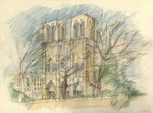Notre dame. Crayon drawing of the historic facade of Notre dame, Paris Royalty Free Stock Photos