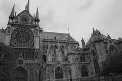 Notre Dame. Gothic Notre Dame in black and white Stock Photos