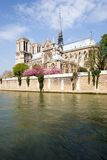 Notre Dame. View of Notre Dame de Paris across the Seine River, France Stock Images