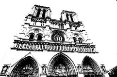 Notre Dame. Front side of Notre Dame with sculptures in illustration Royalty Free Stock Photo