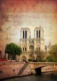 Notre dame. Vintage grunge image notre dame cathedral in Paris Stock Photos