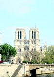 Notre dame. Cathedral in Paris on a blue sky Royalty Free Stock Photos