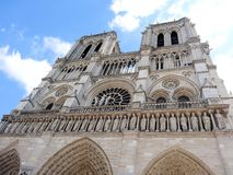 Notre Dame against a blue sky stock photography
