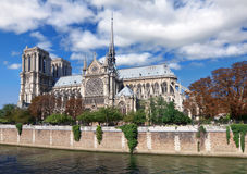 Notre Dame along Seine river Stock Image