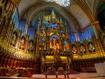 Notre Dame Basilica, binnenland, Montreal, QC, Canada royalty-vrije stock afbeelding