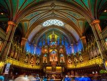 Notre Dame Basilica, binnenland, Montreal, QC, Canada royalty-vrije stock foto