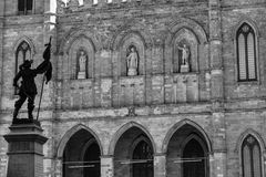 Notre Dame Basilica, Montreal. A monochrome Image of Maisonneuve Monument, facing  Notre Dame Basilica, Montreal. It is a historical and most popular tourist Stock Images