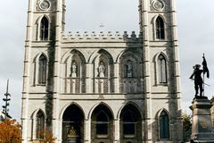 Notre Dame Basilica in Montreal, Canada stock afbeelding