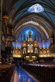 Notre-Dame Basilica of Montreal, Montreal. The pulpit, the sanctuary and the altar, Notre-Dame Basilica of Montreal, Montreal, Canada Stock Photos