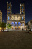 Notre-Dame Basilica in Montreal at Night Royalty Free Stock Photography