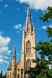 Notre Dame Basilica. The Notre Dame Basilica of the Sacred Heart as seen from nearly 200 yards away stock photography