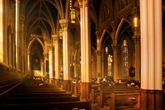 Notre Dame Basilica with Sunday Worshipers stock image