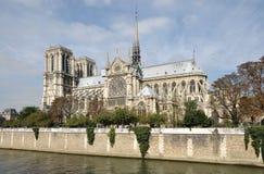 Notre Dame bij de herfst Stock Afbeeldingen