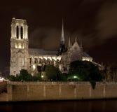 Notre Dame bij nacht Stock Afbeelding