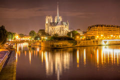 Notre Dame bij nacht Royalty-vrije Stock Foto