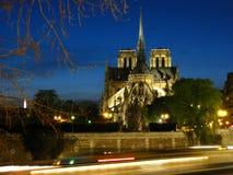 Notre-Dame bij schemering   Stock Foto's