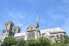 Notre dame from boat on river seine Stock Photography