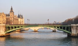 Notre-Dame bridge and the Conciergerie in Paris Royalty Free Stock Photography
