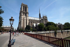 Notre dame from a brige Stock Images