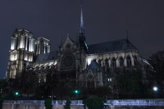 Notre Dame Cathederal at Night Royalty Free Stock Images
