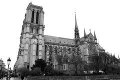 Notre Dame Cathedral à Paris noir et blanc photos stock