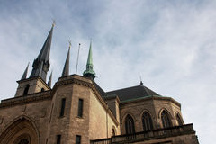 Notre-Dame Cathedral. Luxembourg.  It was originally a Jesuit church, and its cornerstone was laid in 1613 Stock Photos