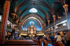 Notre-Dame Cathedral. Interior of the Notre-Dame Cathedral in Montreal Royalty Free Stock Photos