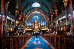Notre-Dame Cathedral. Interior of the Notre-Dame Cathedral in Montreal Stock Photo