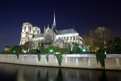 Notre Dame cathedral. In Paris, night scene Royalty Free Stock Photo