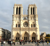 Notre-Dame Cathedral. In Paris, France with crowds of Tourists in the front Royalty Free Stock Photos