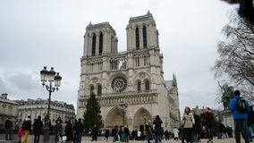 Notre-Dame Cathedral (AKA Cathedral Notre Dame de Paris) with decorated pine-tree, stock footage