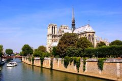 Notre Dame Cathedral along the Seine, Paris, France Royalty Free Stock Photos