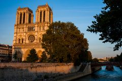 Notre-Dame Cathedral along Seine royalty free stock image