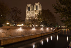 Notre Dame Cathedral At Night Royalty Free Stock Photos