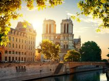 Notre Dame cathedral in autumn Stock Image