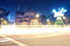 Notre-Dame Cathedral Basilica of Saigon nha tho Duc Ba. Notre-Dame Cathedral Basilica of Saigon at night Stock Photo