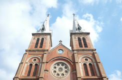 Notre-Dame Cathedral Basilica of Saigon. On a sunny day Stock Photography